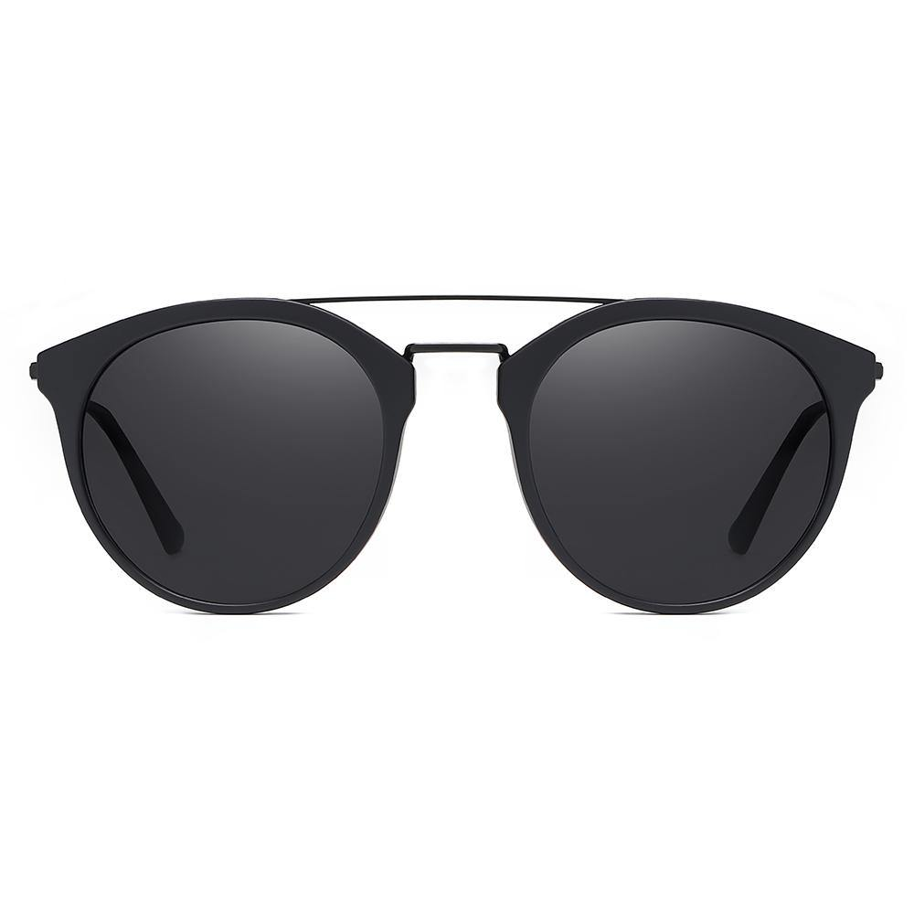 Black round sunglasses, wire double bridge, sunglasses frame in thick top and thin bottom