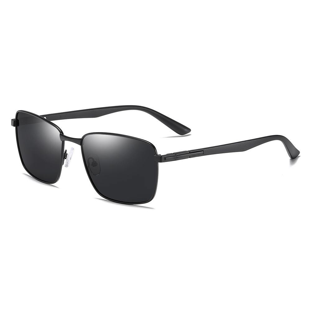 black rectangle sunglasses with black temple arms
