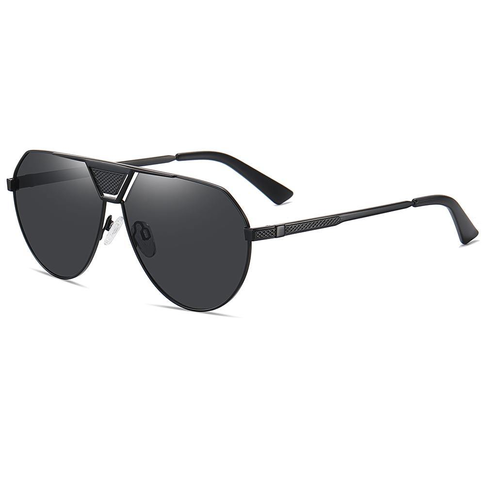 side view of big aviator sunshades, black frames and lens colors