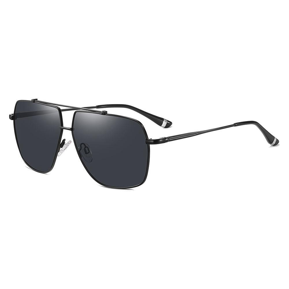black square aviator sunglasses with black temple arms