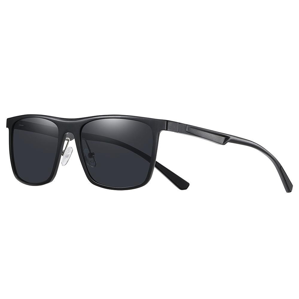 black frame sun-shades wayfarer style with black lens color