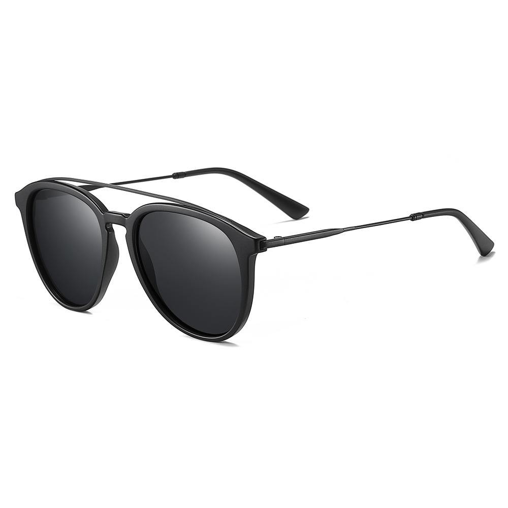 round aviator style sunglasses, Thin wire double bridge, black tinted lens, tortoise frame
