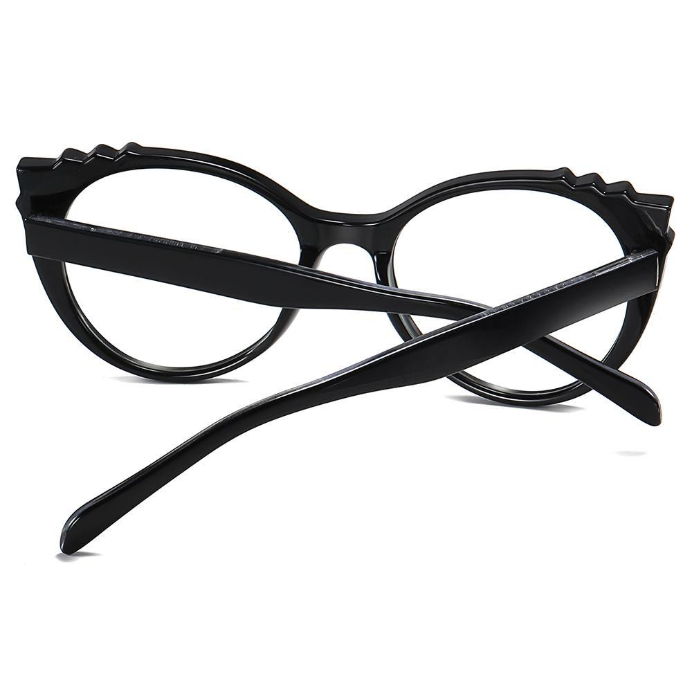 Black temple arms of this round cat eye glasses for women