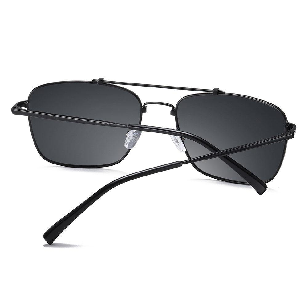 Black temple arms and sunglasses frames, double bridge designed