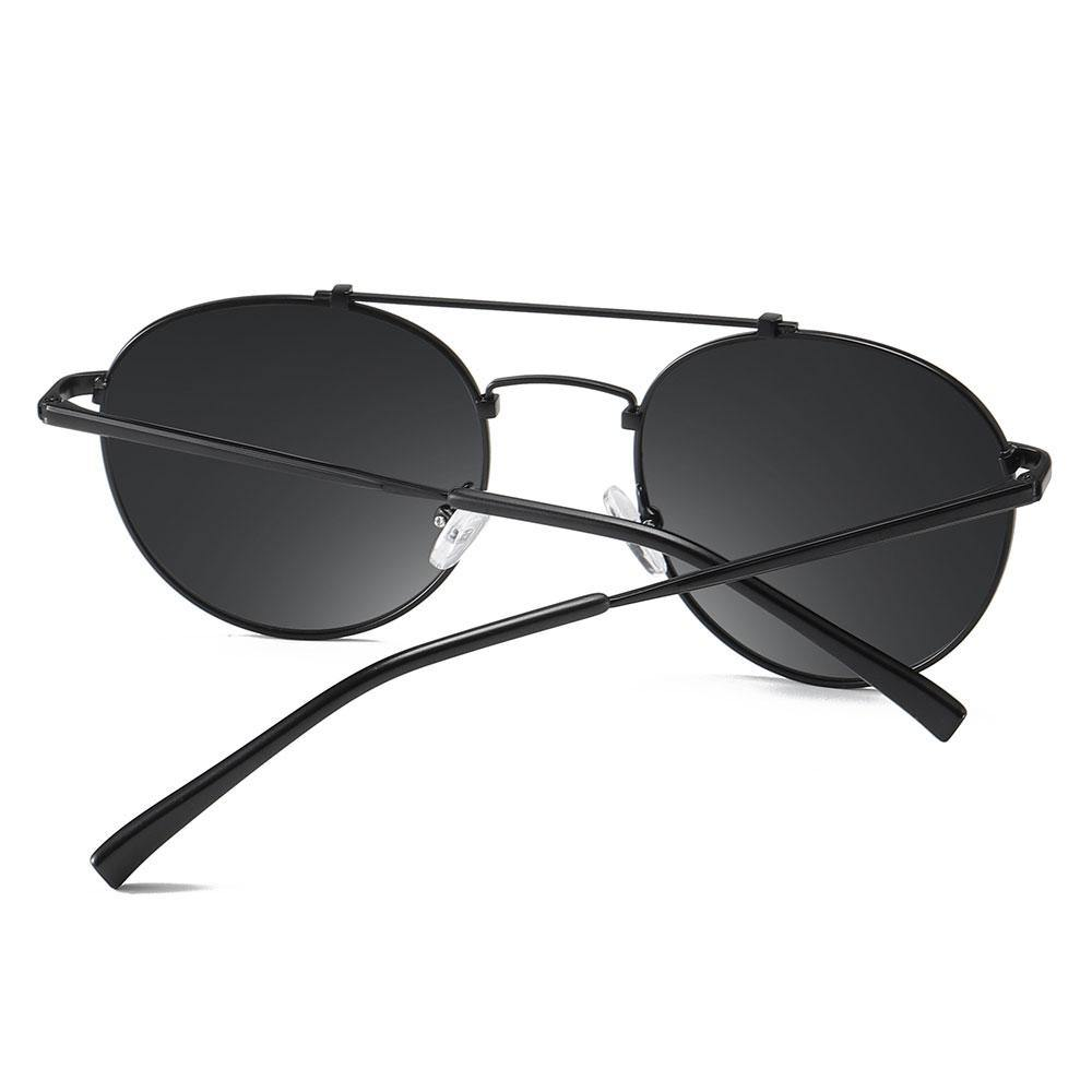 Black temple arms of the round sunglasses double bridge
