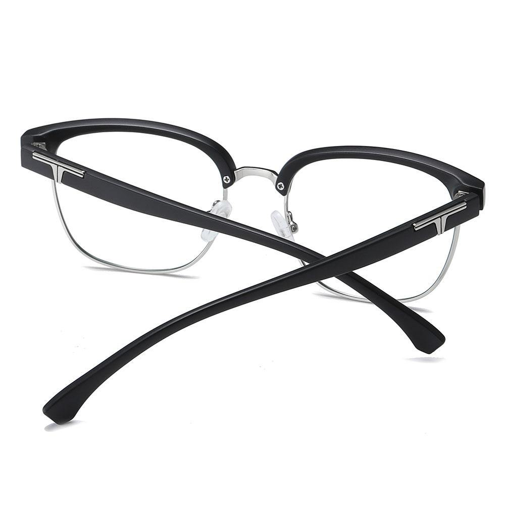 bright black temple arms, adjustable nose pads,clubmaster eyeglasses