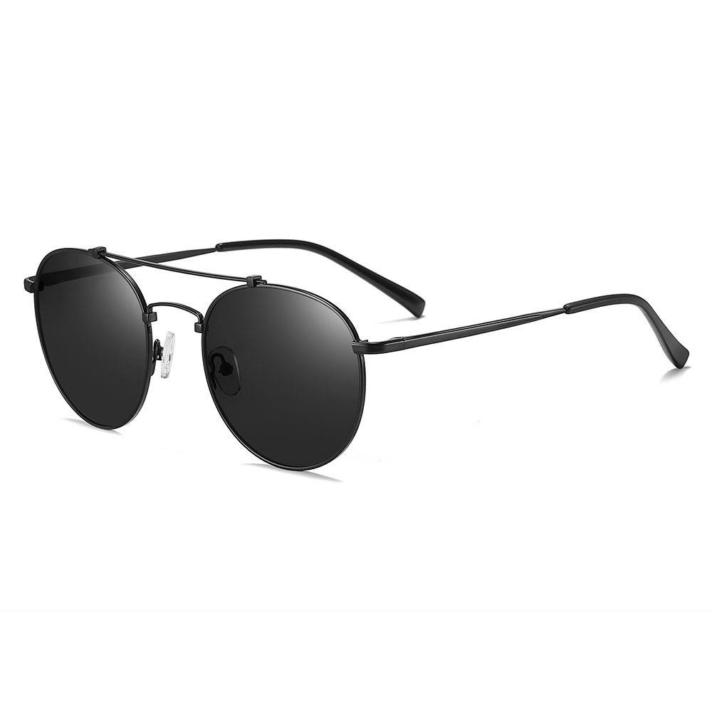 thin wire frame round sunglasses, black, double bridge