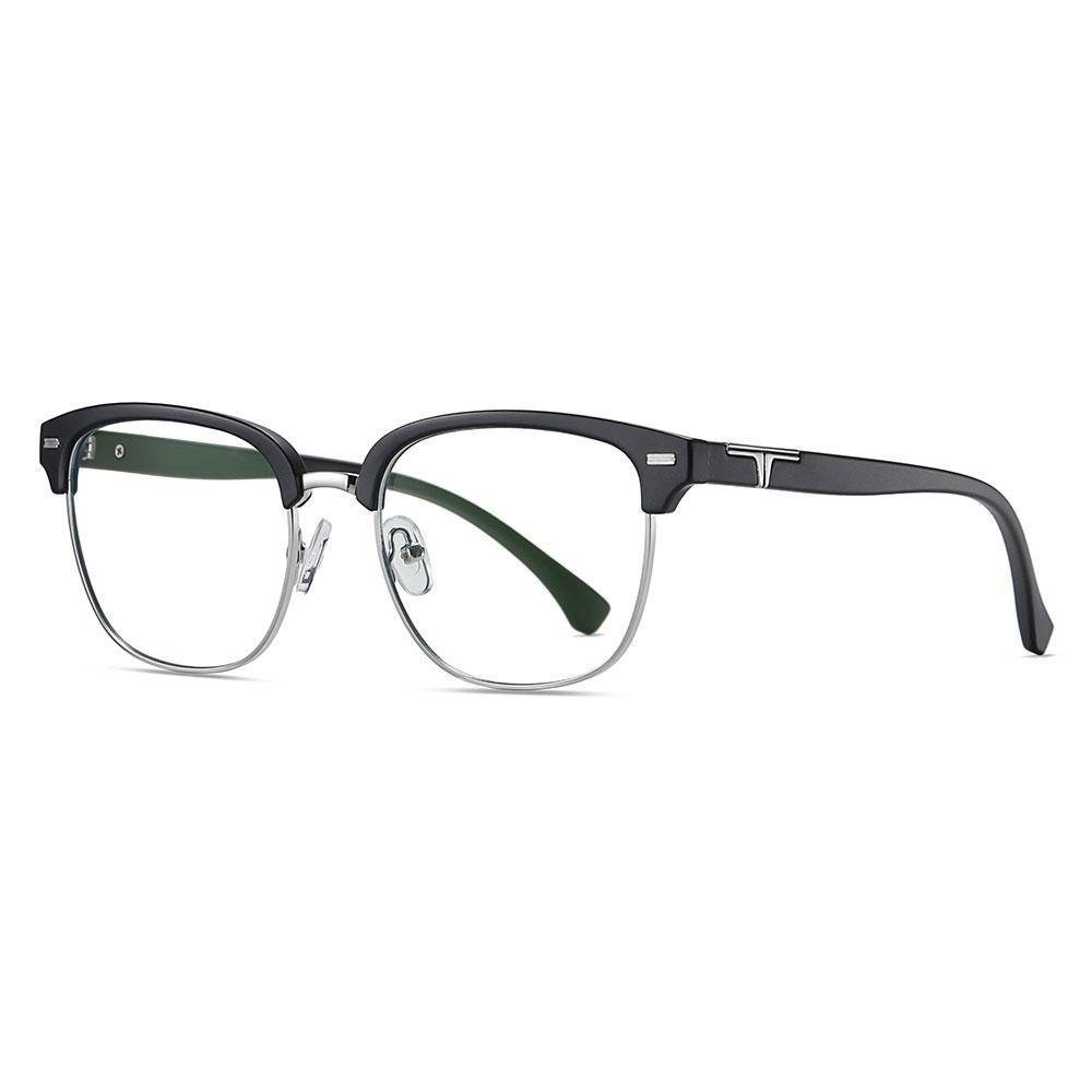 Matte black squared-off eyeglasses, clubmaster style, black temple arms
