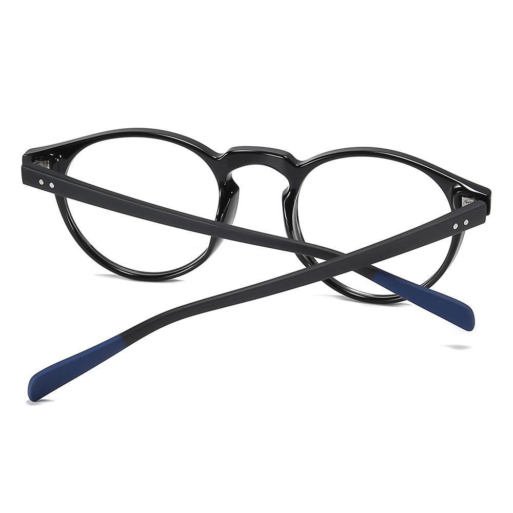 Black temple arms with blue ending tips for this round eyeglasses