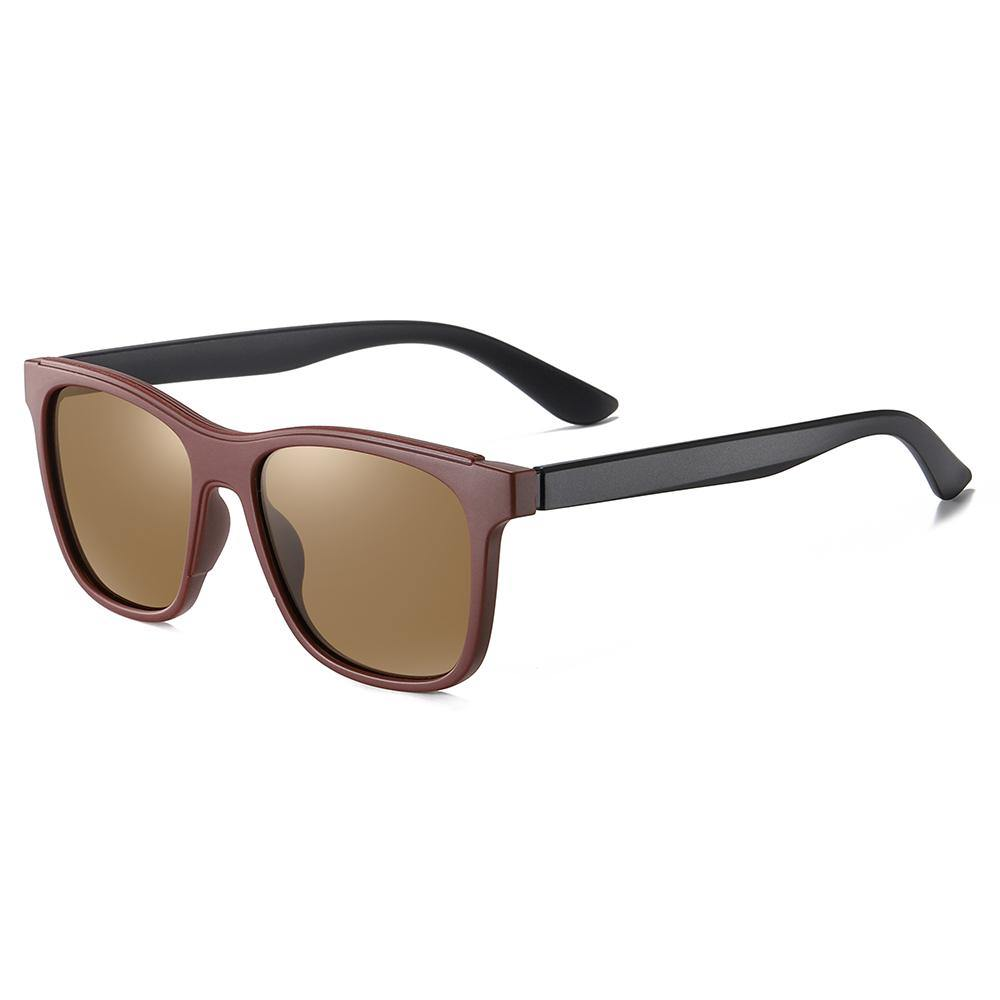 Square shaped sunglasses, brown tinted lens, deep wine red frame color