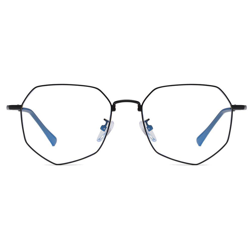 Geometric eyeglasses in full black wire thin frames