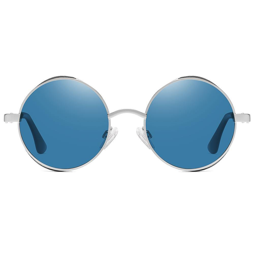 John lennon round sunglasses, light blue tinted lens, silver frames nose bridge and temple endpieces