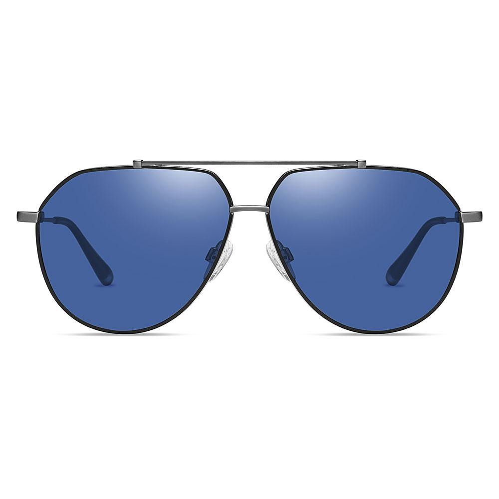 Blue aviator sunglasses trimmed with black, double bridge design