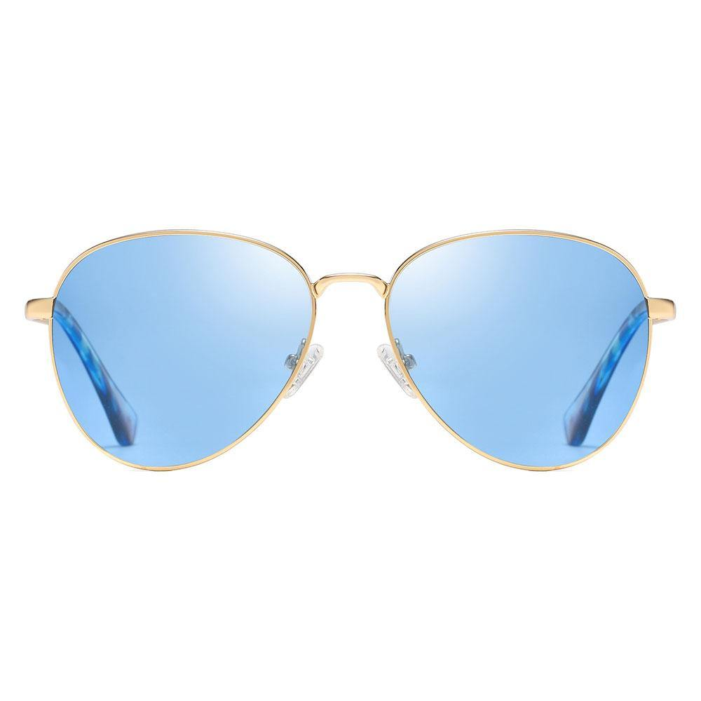 Blue aviator sunglasses with gold trim