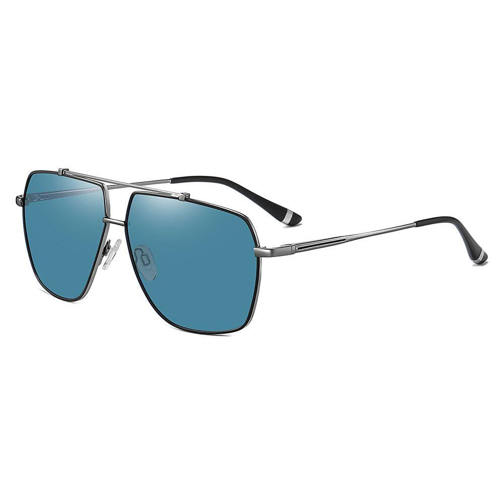 blue square aviator sunglasses with dark gray temple arms, black ending tips