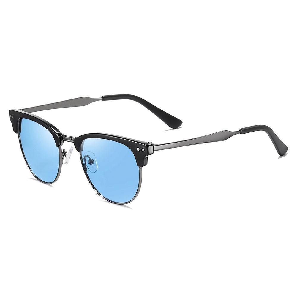 blue tinted sunglasses with black browline, dark gray temple arms and black ending tips