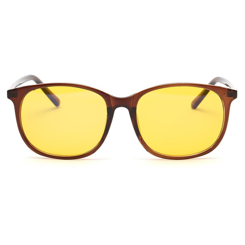 brown frames rectangle shape, yellow lens, blue light filtering glasses