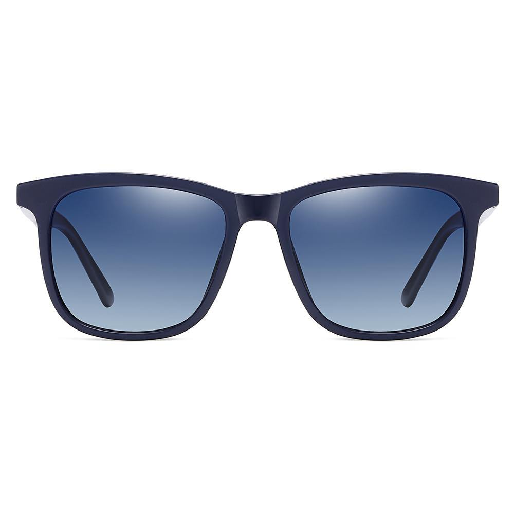 Blue gradient sunglasses with blue thick trimmed, square frame shape