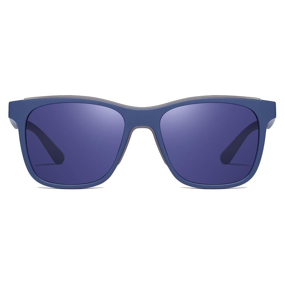 Blue tinted lens and thick lens trim, squared-off frame shape