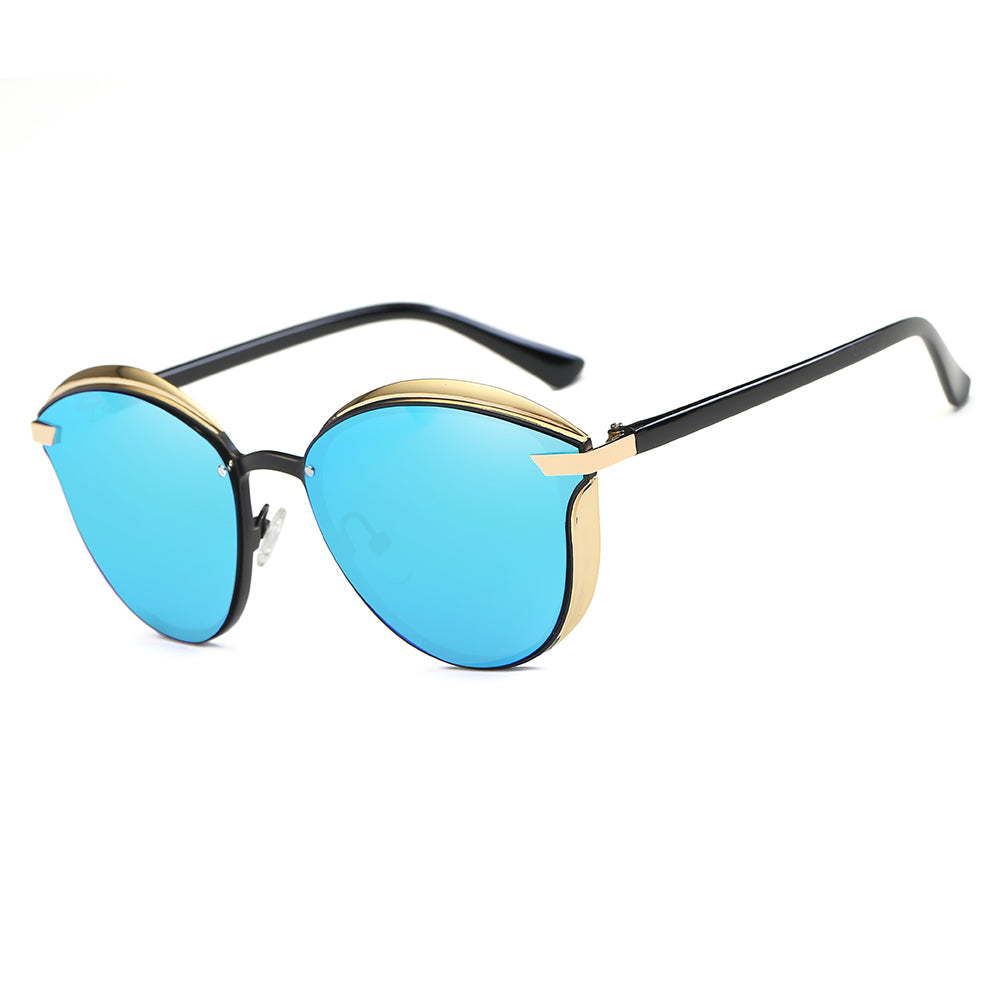 small round frames with blue tinted lens, black temples