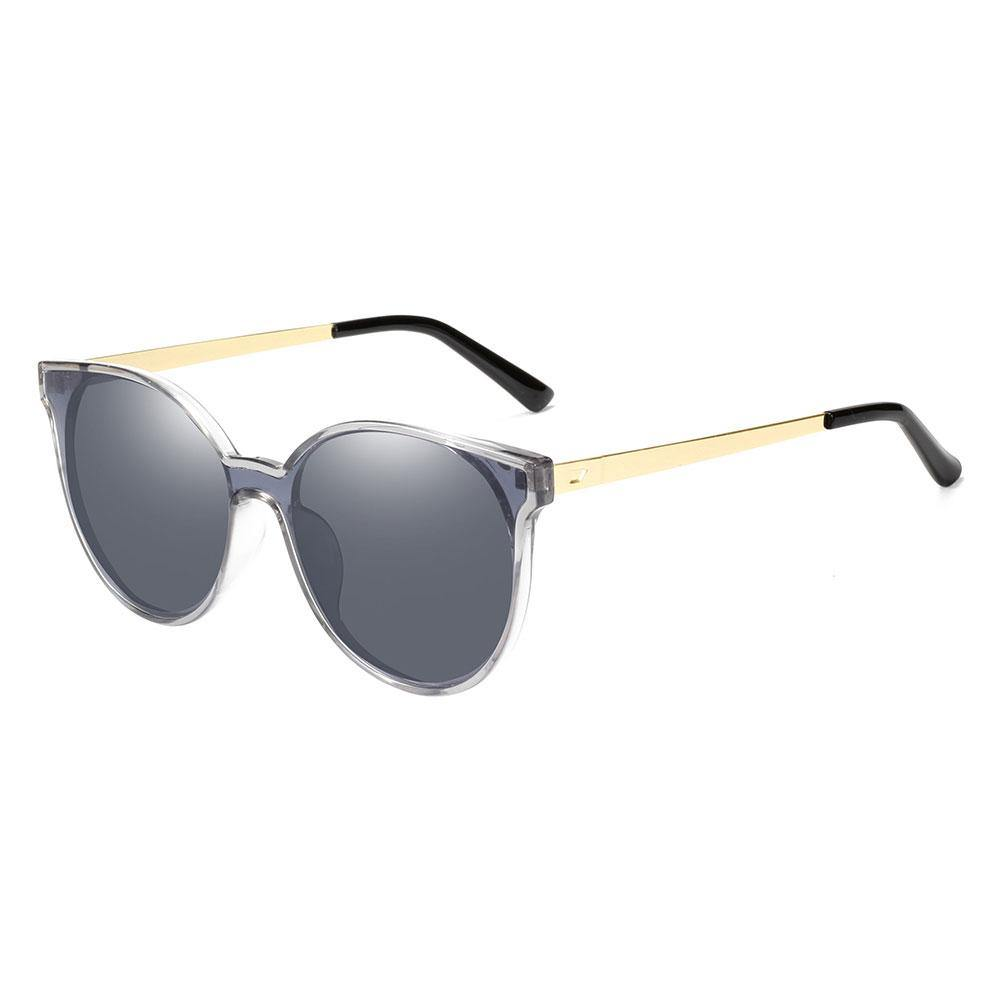 Blue grey round sunglasses with gold temple arms, black ending tips