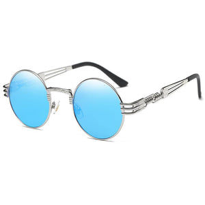 blue round sunshades, hippie quavo, John lennon style, silver metal temple arms