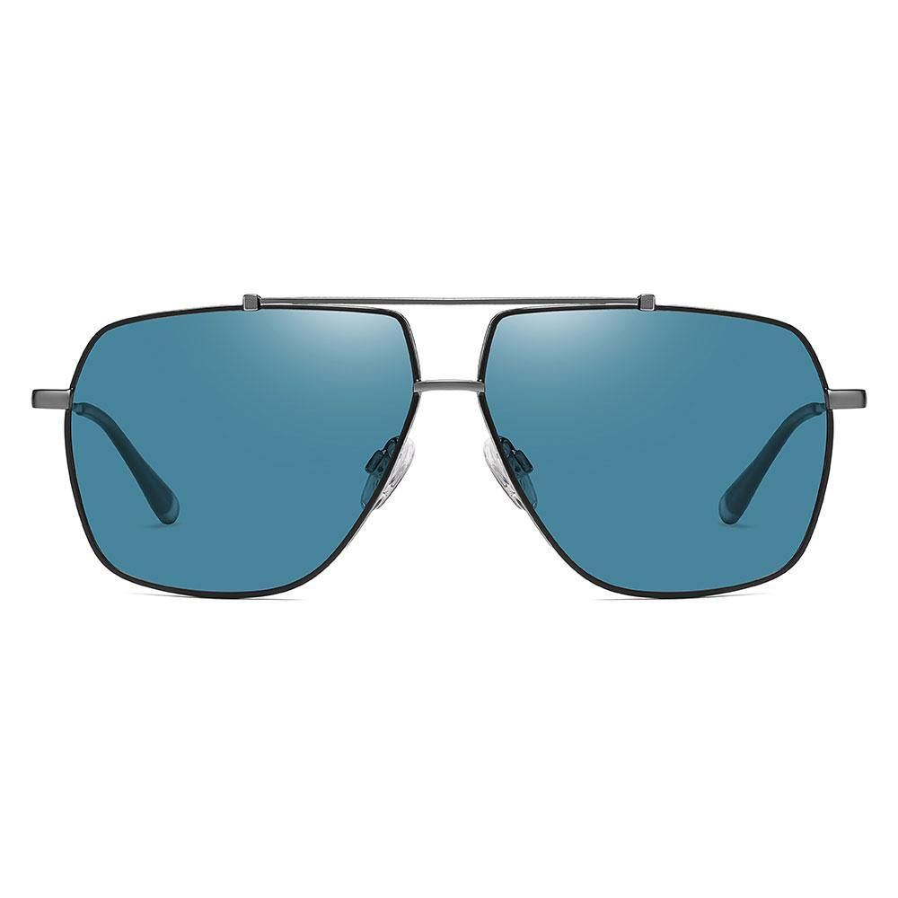 Blue square aviator sunglasses trimmed with black