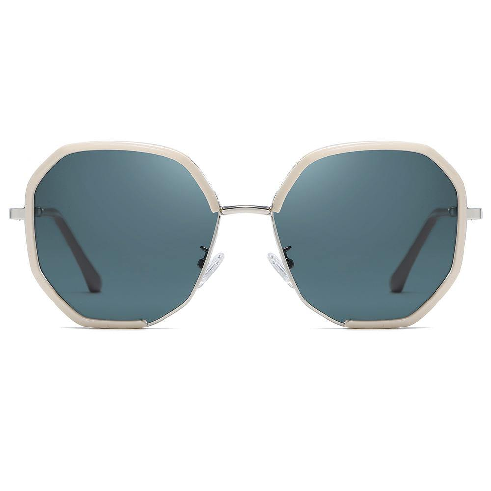 teal blue sunglasses with pink frame in geometric hexagon shape