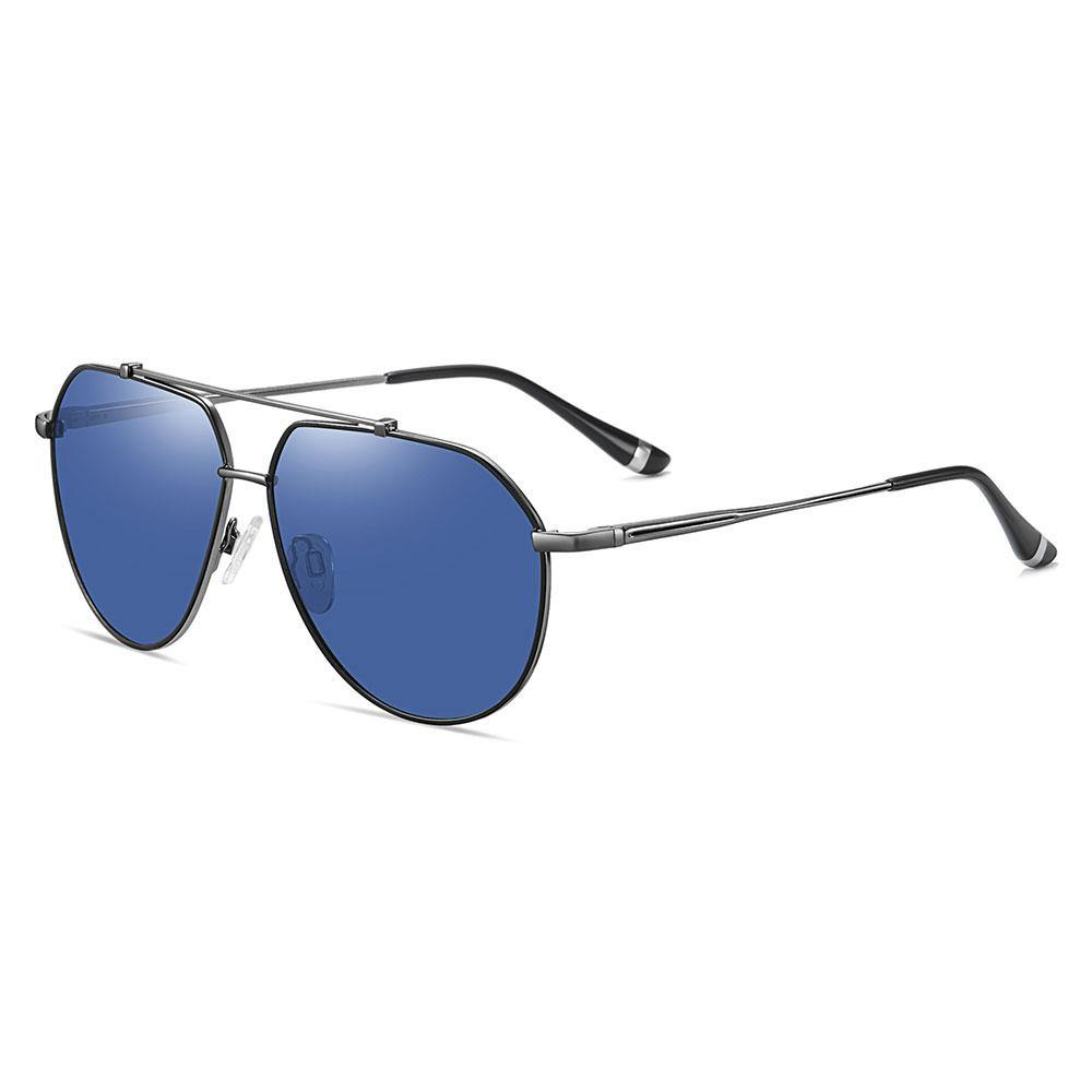 Aviator sunglasses with blue tinted lens, deep grey temple arms and black ending tips