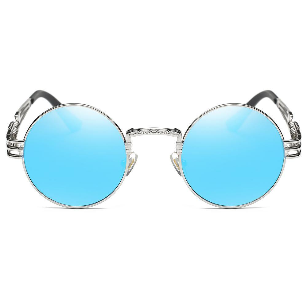 blue tinted lens rimmed with silver metal, spring screw legs design