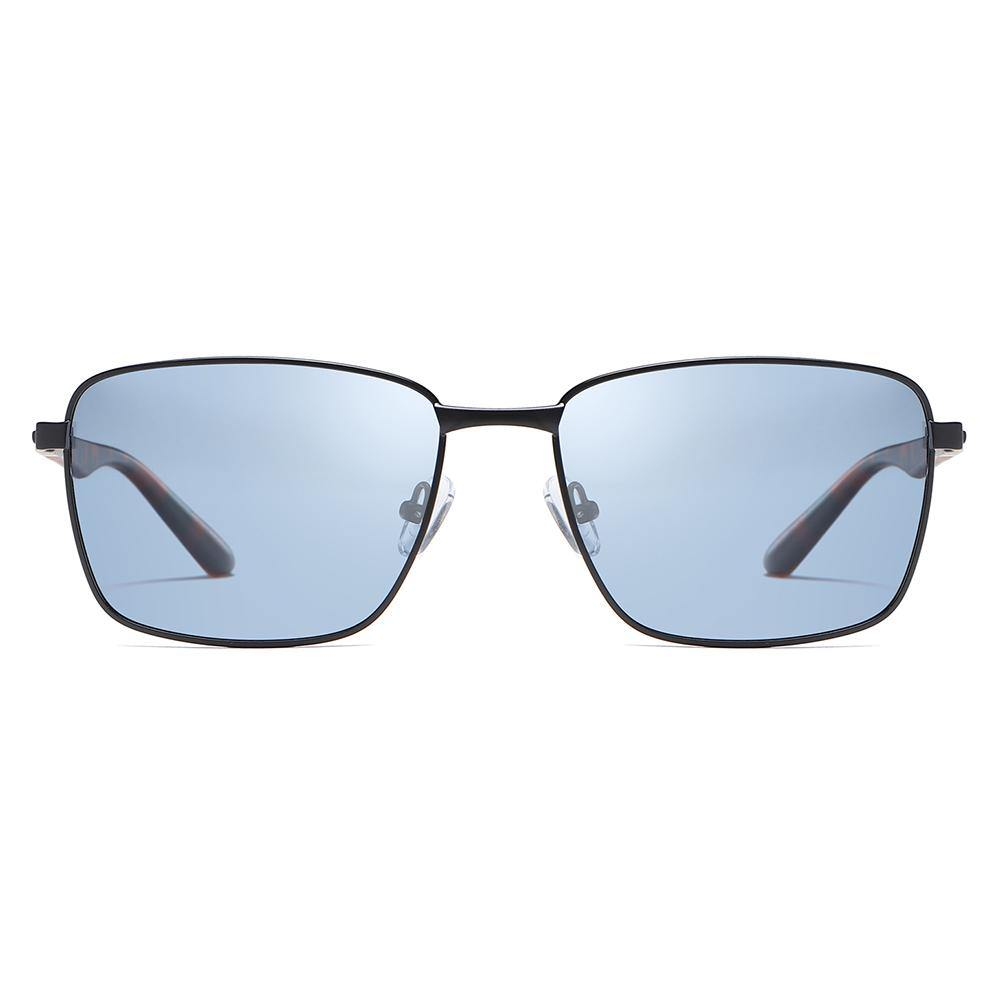 Blue tinted lens in rectangle frame shape, trimmed with black