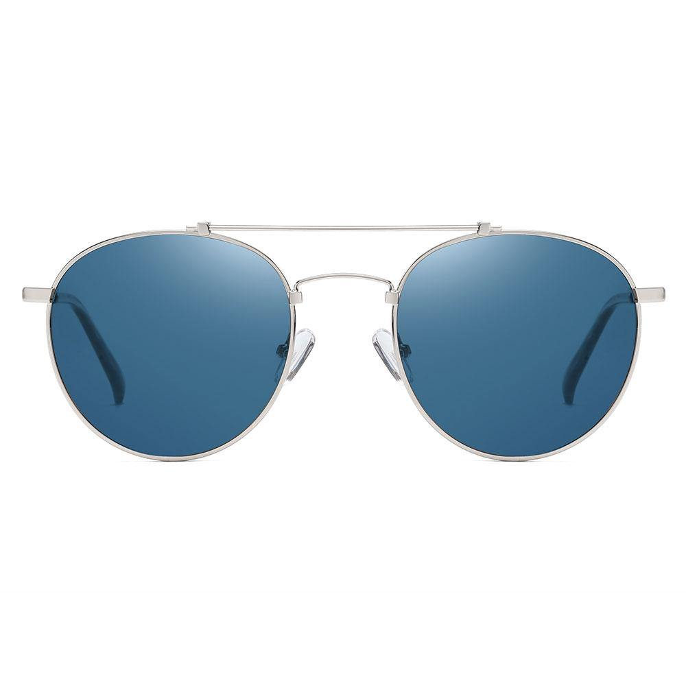 Blue sunglasses with silver trim, double bridge round aviator frame style