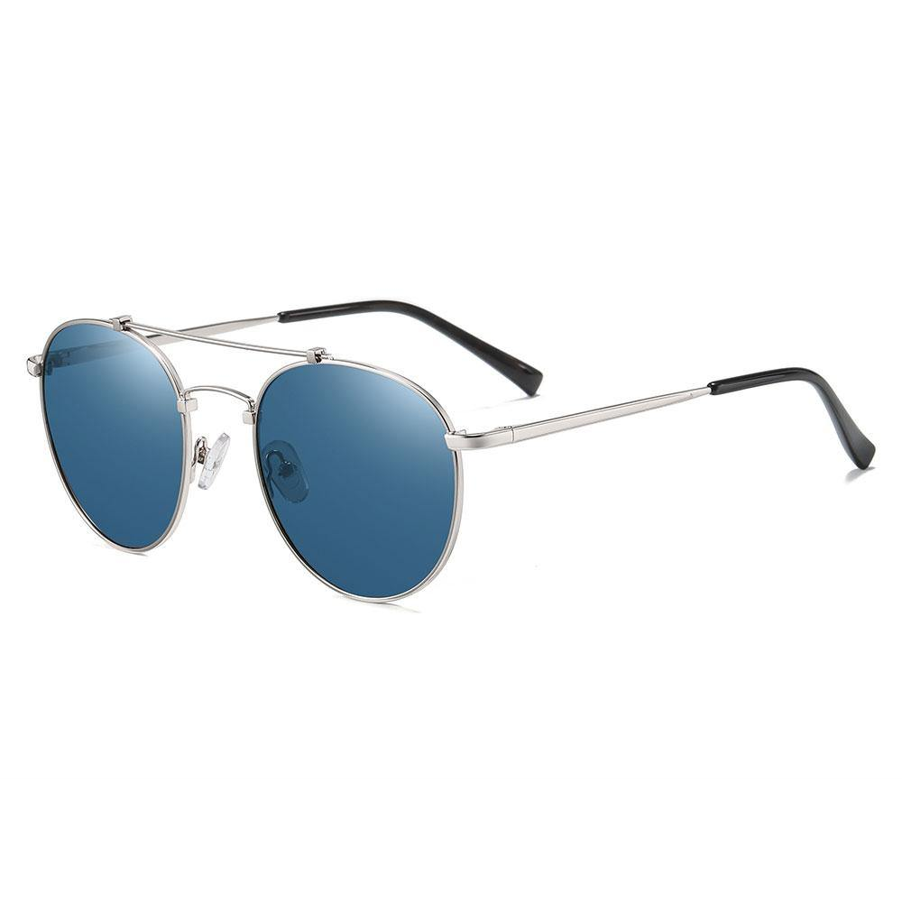 blue sunglasses with silver temple arms and black ending tips, with silver trimmed, double bridge