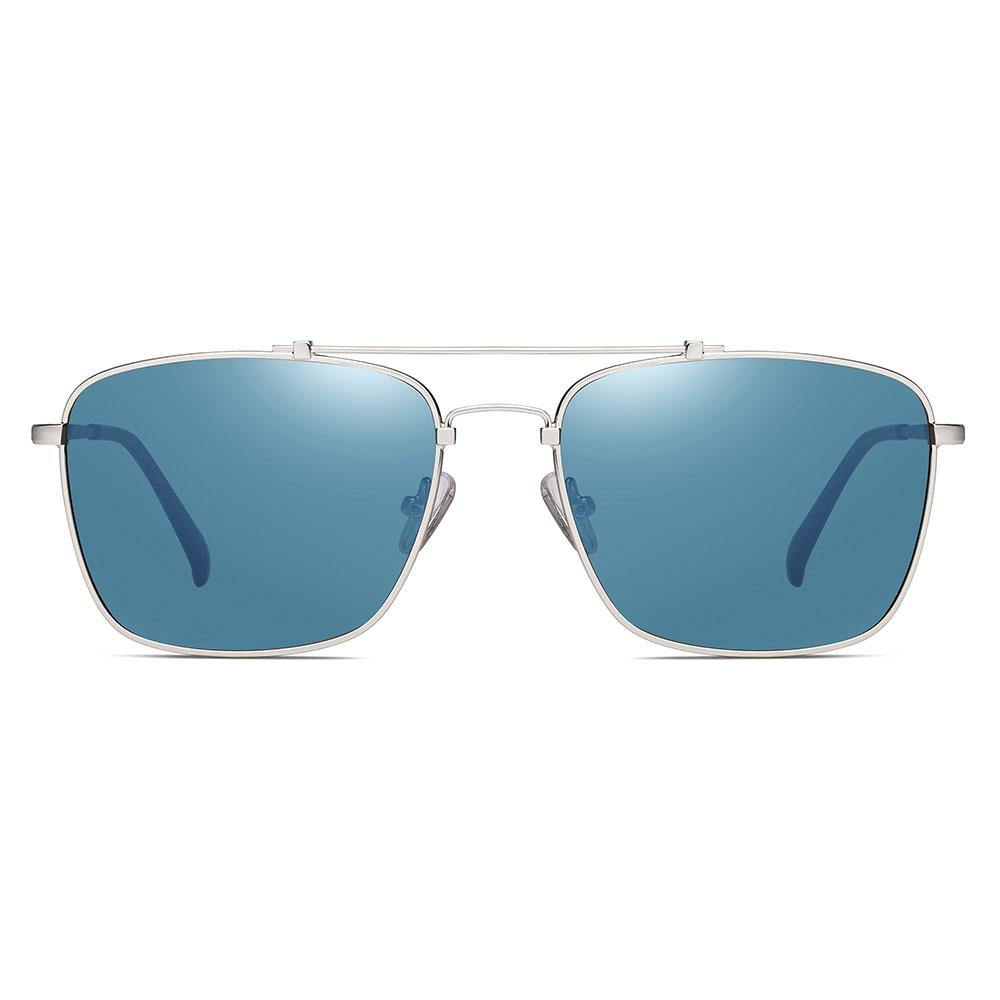 Blue sunglasses with silver trimmed, rectangle frame shape