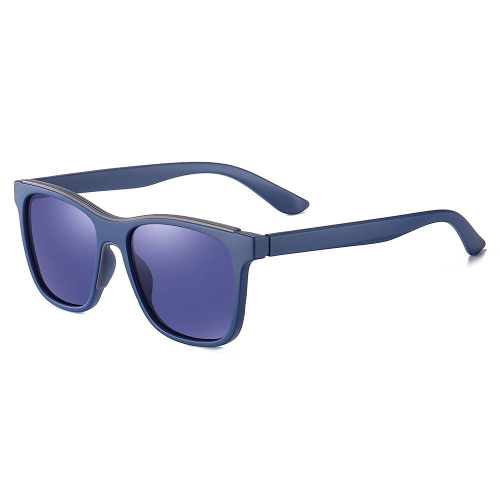 blue lens tint and temple arms, square frame shape