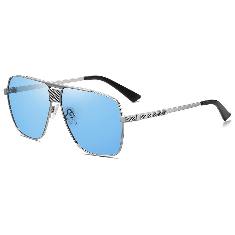 blue tinted sunglasses with silver temple arms