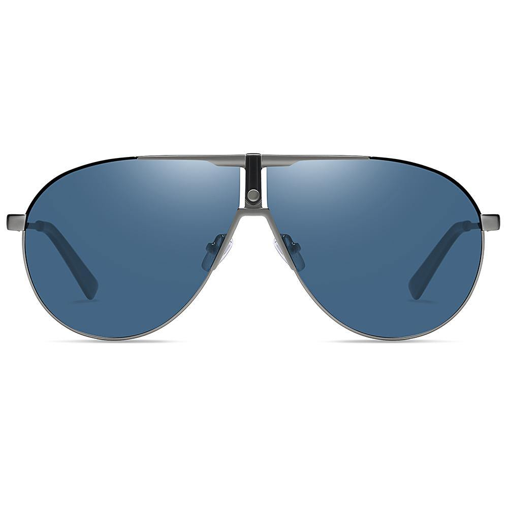 light blue tinted lens, flat top style aviator shape, silver endpieces