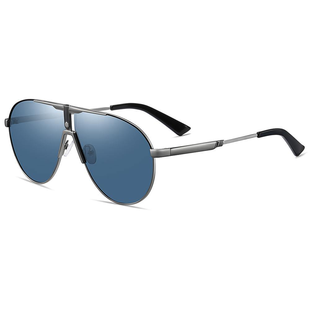 side view of blue tinted sunglasses for fishing and driving, silver temple arms