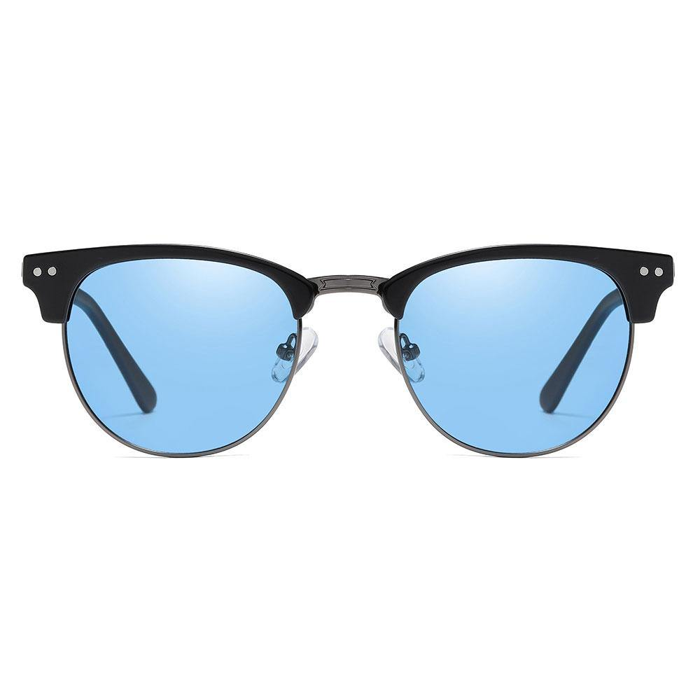Blue clubmaster sunglasses with black browline, trimmed with dark grey