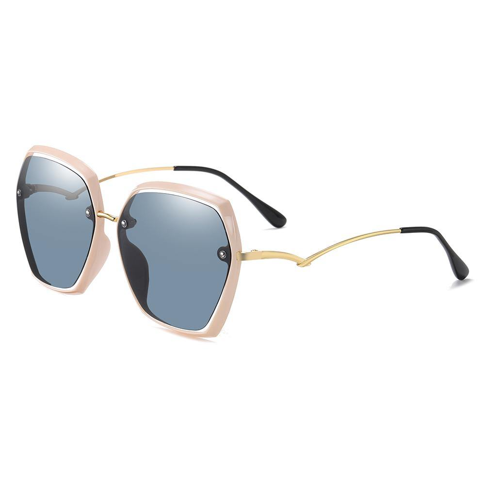 pink trim sunglasses with dark blue lenses