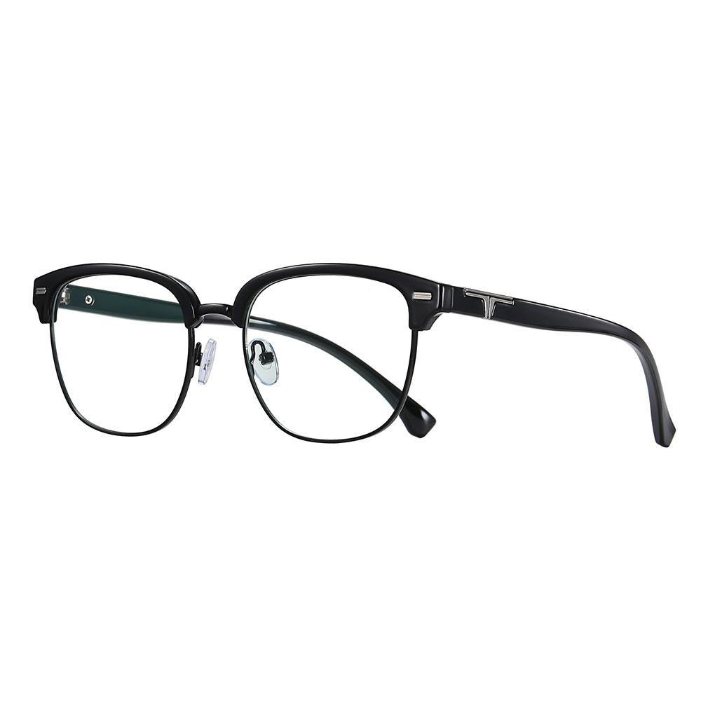 Bright black square round eyeglasses, with black temple arms