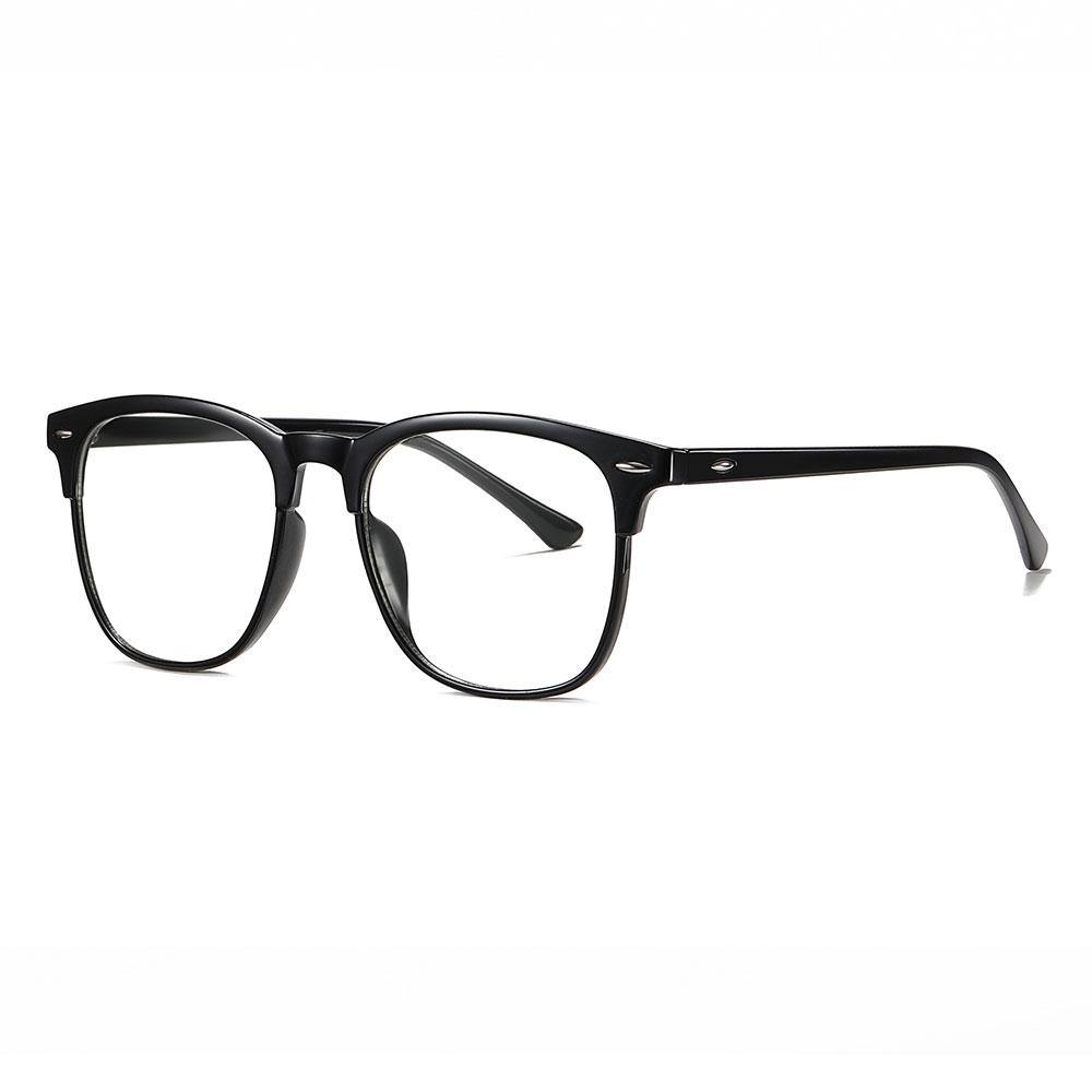 Bright black square eyeglasses with thin black temple arms