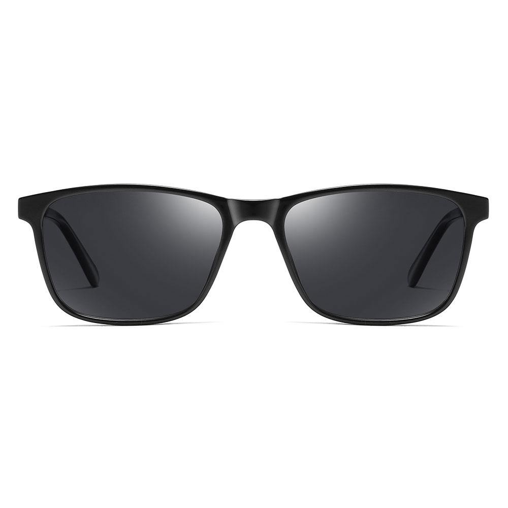 rectangle sunglasses with yellow tinted lens, trimmed with black