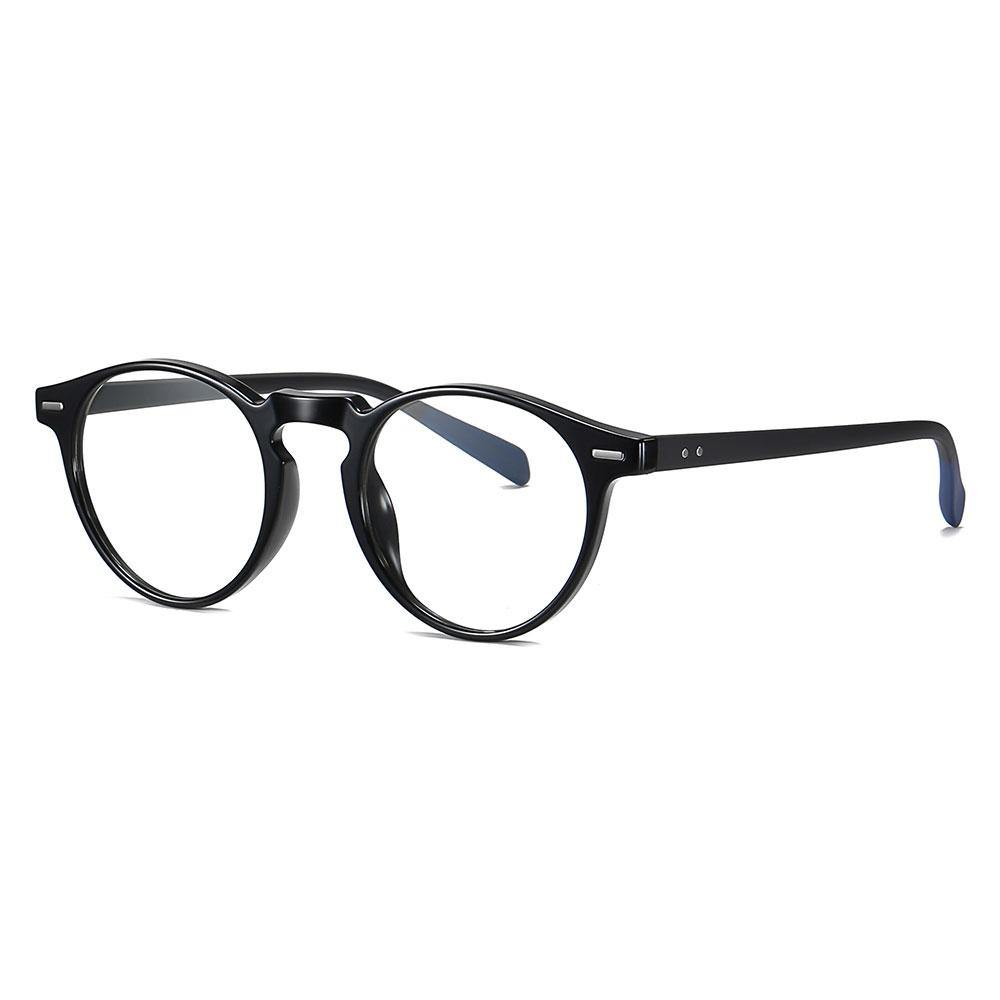 Bright black round eyeglasses with black temple arms