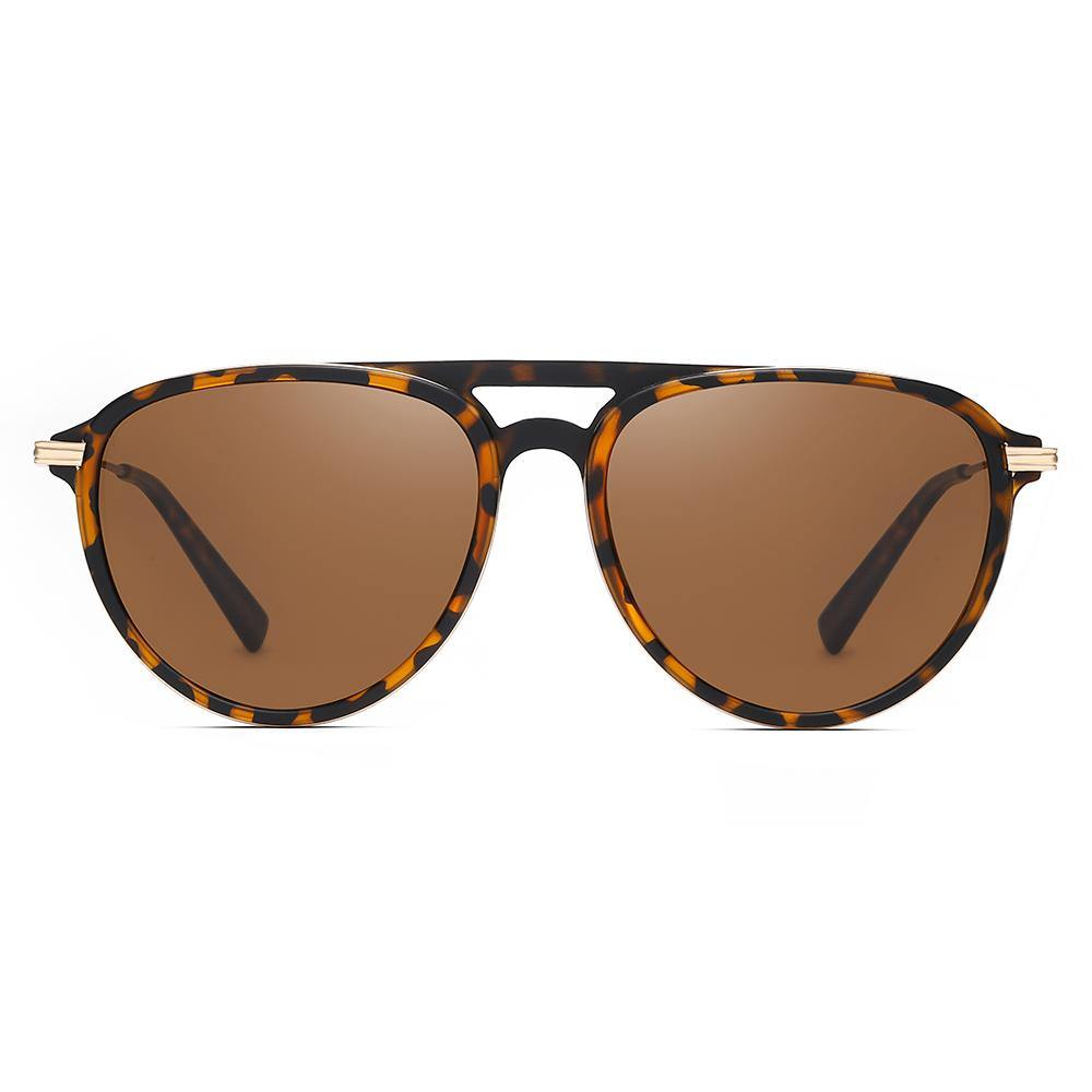 brown tinted lenses with tortoise frame color, rounded frame shape, slight aviator style, double bridge