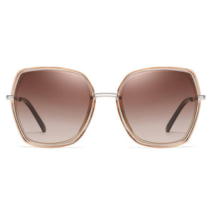 large square sunglasses in silver frames with brown gradient tint lenses