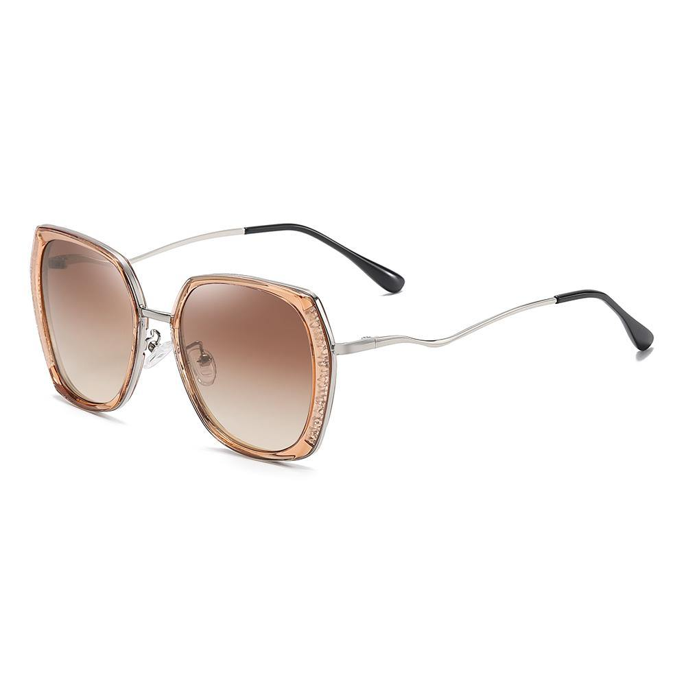 square sunglasses with light brown gradient lenses color