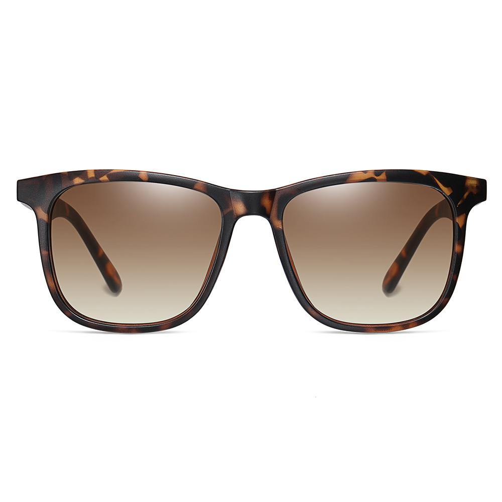 Squared-off sunglasses with brown tortoise frames, brown gradient lens