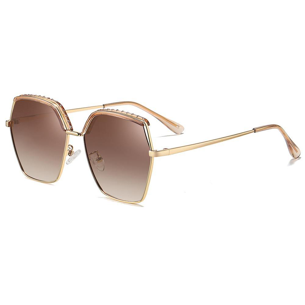 brown gradient lens sunglasses in geometric shape for women, gold temple arms and clear ending tips