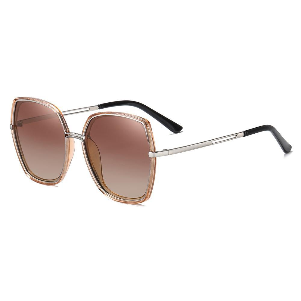 brown gradient lenses with square frames and silver temple arms